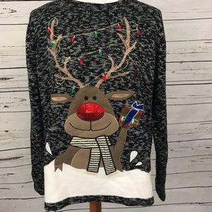 Holiday Time Rudolph Ugly Christmas Sweater Sz XL